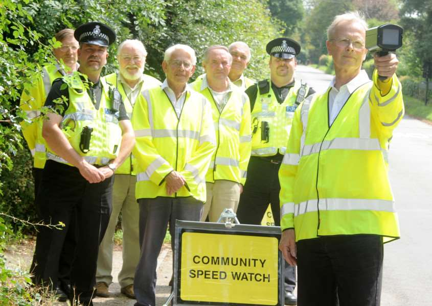 A glimpse of things to come: volunteers and police man a Community Speedwatch scheme in Suffolk.