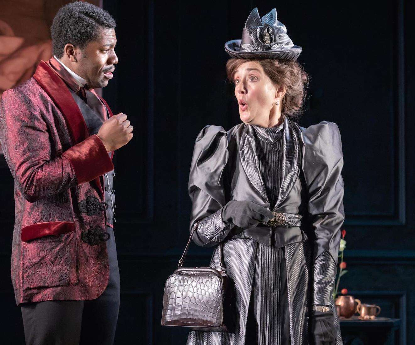 Sophie Thompson (Lady Bracknell) and Fehinti Balogun (Algernon Moncrieff) in a scene from The Importance of Being Earnest. Photo supplied. (4724537)