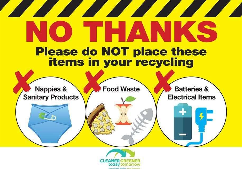 People have been reminded regularly to help cut contamination in recycled waste by keeping certain items out of their green bags and bins.