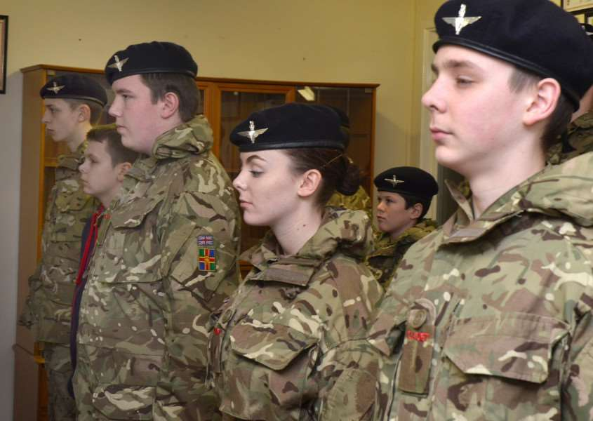 Army cadets on parade at their meeting in Spalding before the evening's activities. (SG150218-101TW).