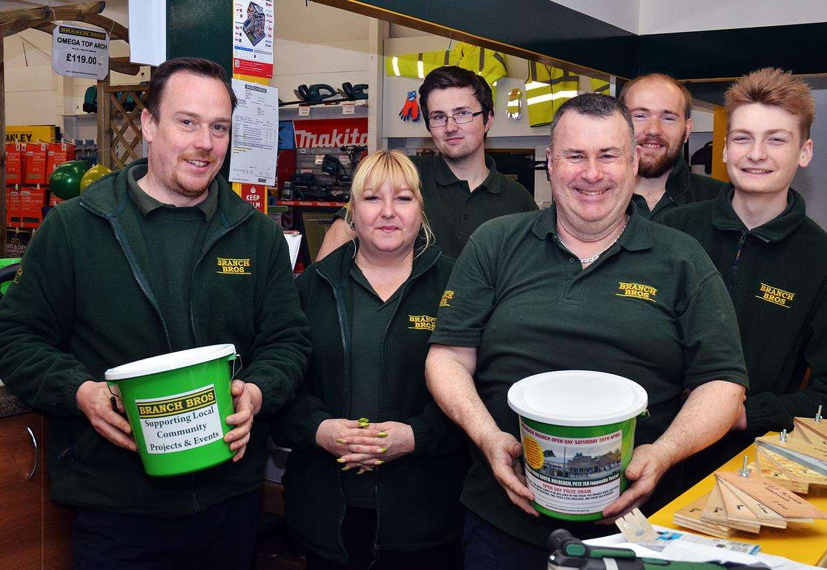 Collecting for LIVES Firs Responders at Branch Bros' open day in Holbeach are (from left) branch manager Ben Callow, Michelle Hix, Tom Howlett, Steve Gates, Jamie Patman and Bradley Hix. Photo by Tim Wilson. SG280418-157TW. (2097625)