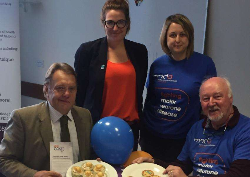 MP John Hayes pictured with, from left: Hannah Harris, Alice Fuller of the MND Association and Barry Wilson of the Lincolnshire branch.