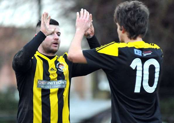 Lewis Leckie is congratulated by Will Bird