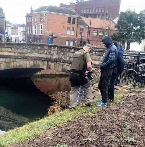 This image was posted on Facebook by angler Andi Shortland who wants more done to tackle illegal fishing. The picture shows an Environment Agency official on patrol in Spalding on February 7.