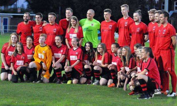 Footballers from Pinchbeck United's senior and junior teams. Photo by Tim Wilson. (6876670)