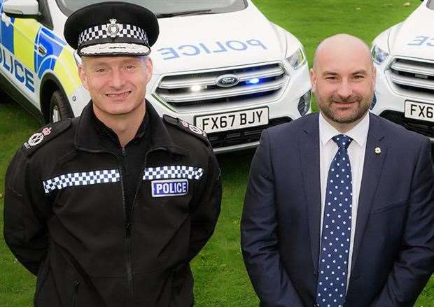 Chief Constable Bill Skelly with Police and Crime Commissioner Marc Jones. Photo by Martin Birks.