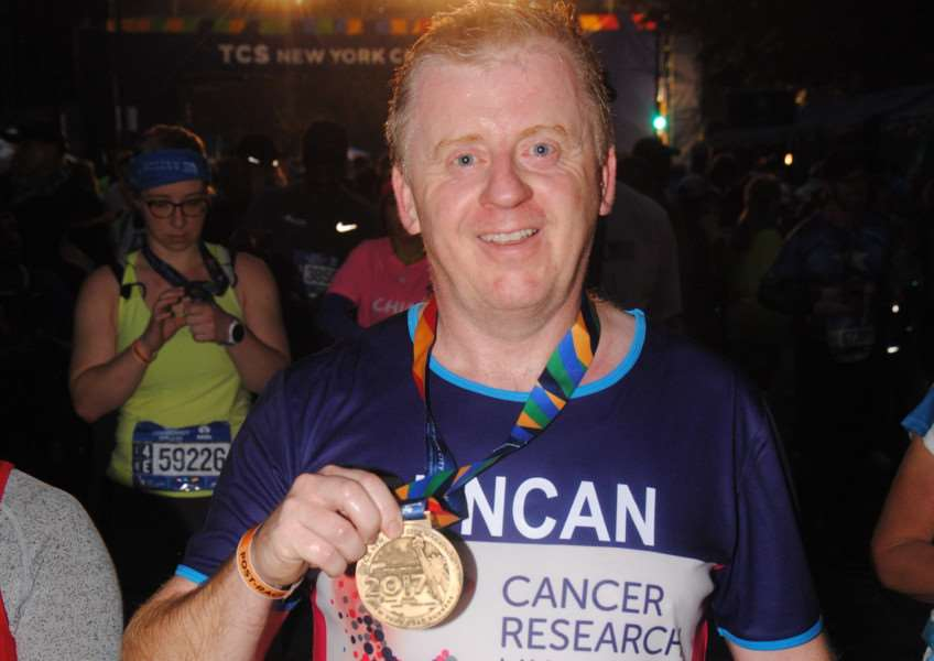 Duncan Wright at the end of his New York Marathon run.