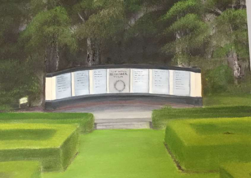 Ruth Baldry's impression of how the new Spalding World War Two Memorial will look in Ayscoughfee Gardens.