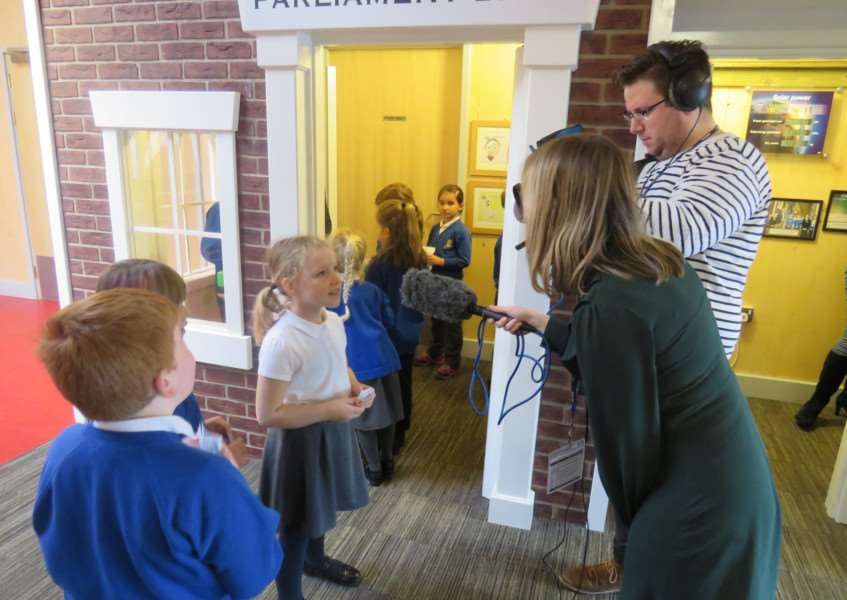 The BBC filming at Kirton Primary School for its Inside Out programme, about the school's bank, shop and currency scheme. Photo supplied by the school.