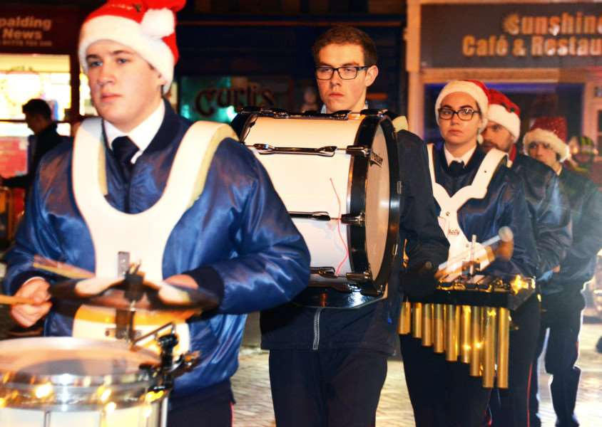 Spalding Marching Ambassadors on parade at the Christmas lights switch-on. SG021217-200TW