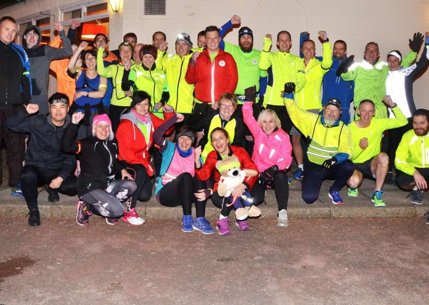 Runners with Halmer Harriers: Spalding and South Lincs Community Running Club train ahead of the Santa Fun Run in Spalding last December. Photo by Tim Wilson. SG051217-102TW.