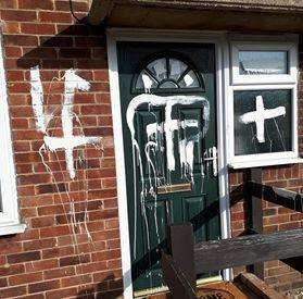 Matthew Poxon's vandalised house in Rowan Avenue, Spalding.Photo supplied.