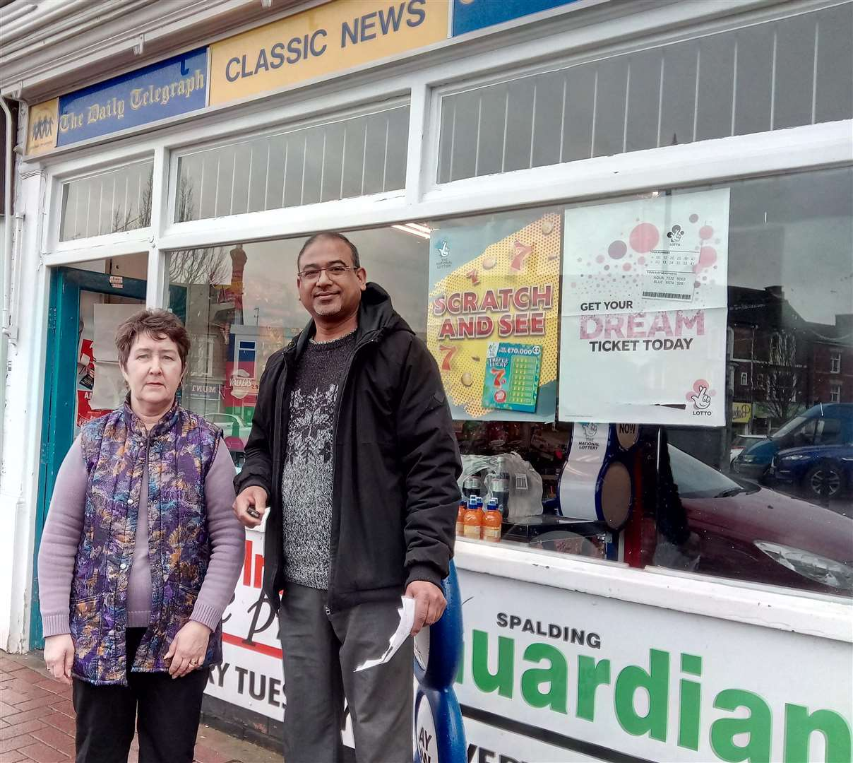 Library picture: Asgar Vanparekh and sales assistant Susan Waltham outside Classic News on Sheep Market. (2177521)