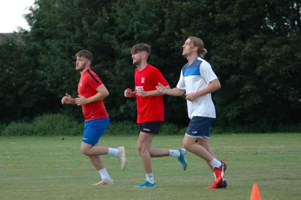 Pinchbeck United's players in pre-season training. The Knights are one of those clubs given a grant. (39519174)