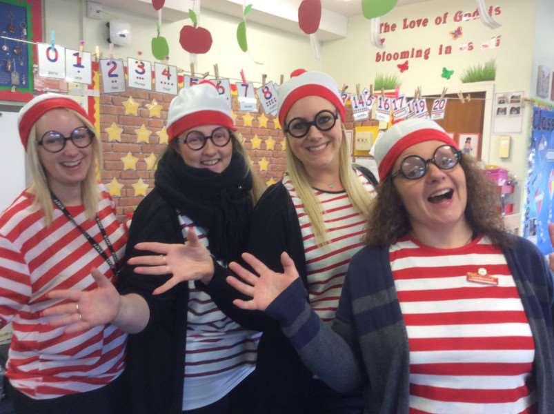 Key Stage One staff members who dressed as Where's Wally, from left: Gemma Robinson, Catherine Cox, Rachel Cannon and Lisa Beresford.