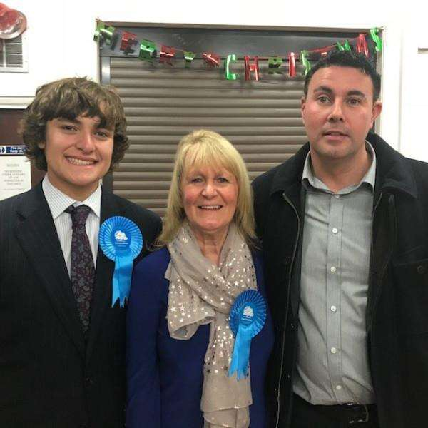 New councillor Jan Whitbourn with William Hayes (left) and Coun Gary Taylor.
