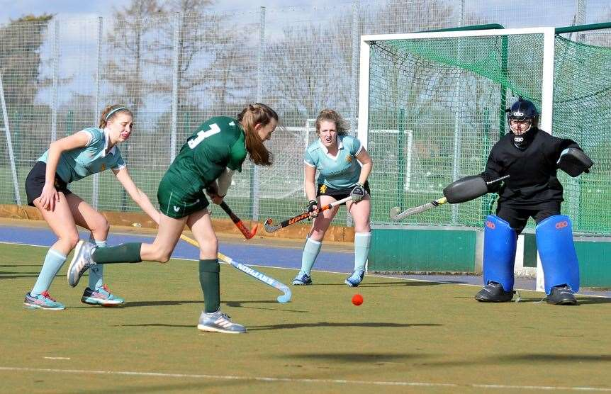 Long Sutton ladies' 1sts in action against Cambridge University ladies' 3rds at Peele Leisure Centre.Photo by Tim Wilson.SG-290220-016TW.