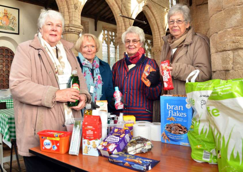 VILLAGE FOODBANK: Volunteers Rosemary Goddard, Janet Mossman, Mary Hubbert and June Greenslade at St Mary's Church, Sutterton. Photo by Tim Wilson. SG011217-201TW.