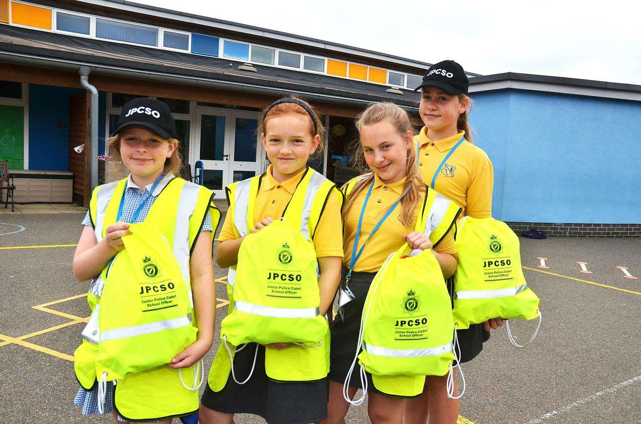 MINI-POLICE FORCE: Junior PCSOs Hannah, Elizabeth, Hope and Scarlet at Weston Hills Primary School where Lincolnshire Mini-Police will operate from in September. Photo by Tim Wilson. 110718110SG.