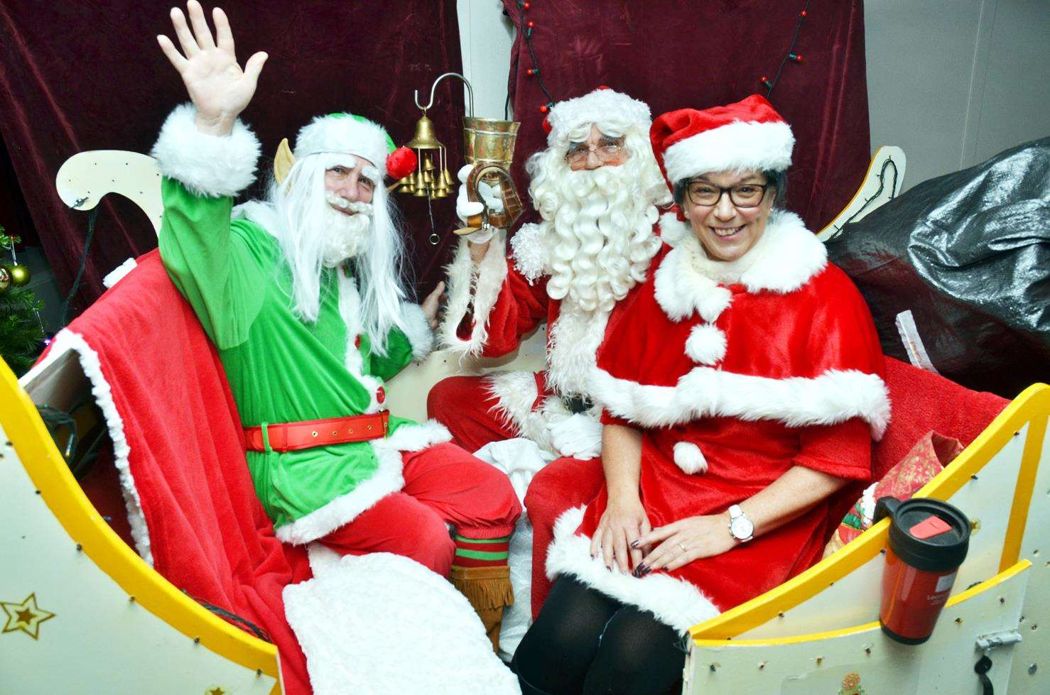 Santa, Mother Christmas and the 'Elf on the Shelf' fly into the fayre. (5475785)