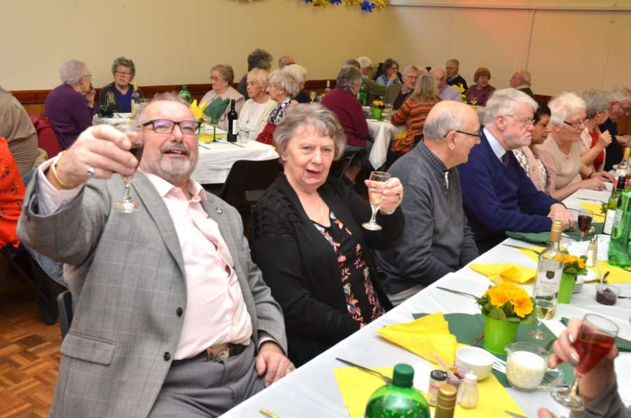 Guests ready for dinner at Quadring annual senior citizens party