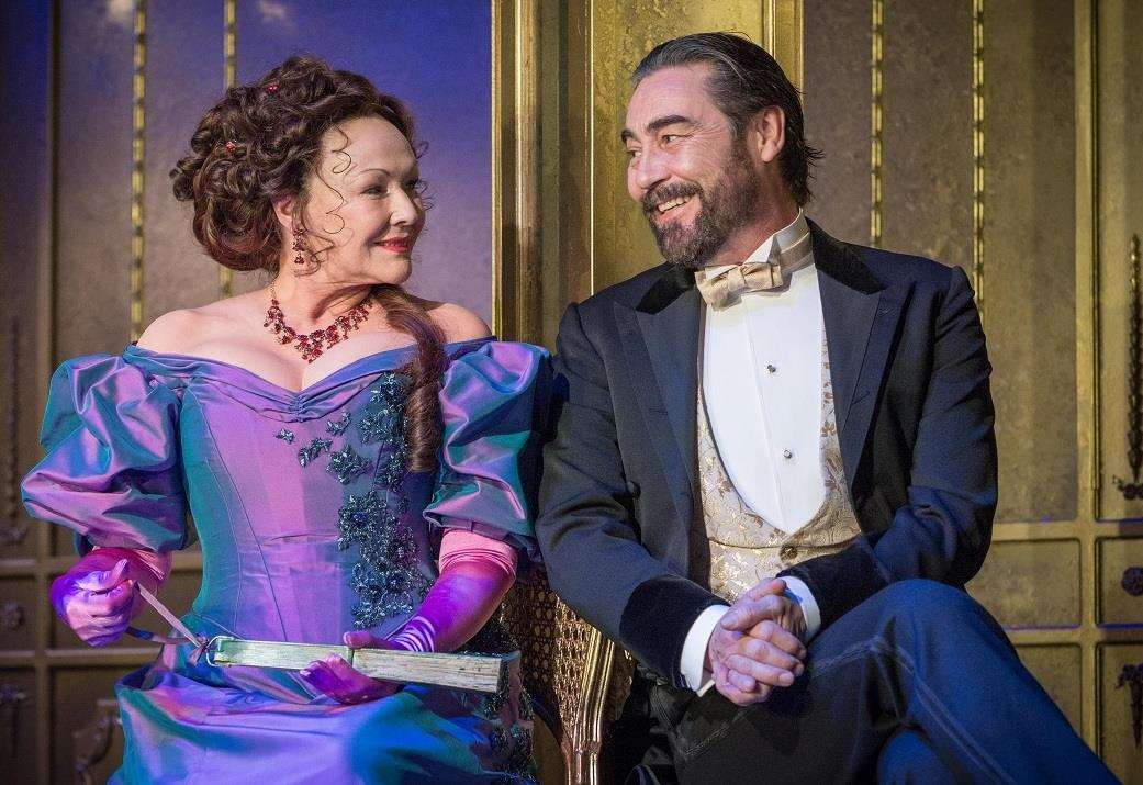 Frances Barber (Mrs Cheveley) and Nathaniel Parker (Sir Robert Chiltern) in An Ideal Husband, directed by Jonathan Church. Photo by Neil Gavin. (2406364)