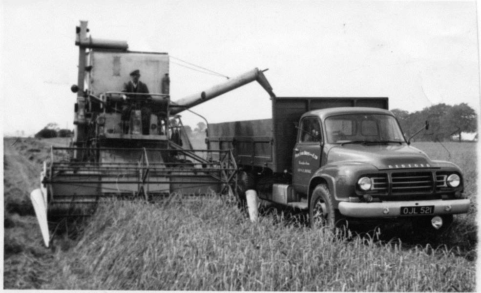 Fred Wilson on Combine & Gus Joy in new lorry J5 Bedford OJL 521 in 1959