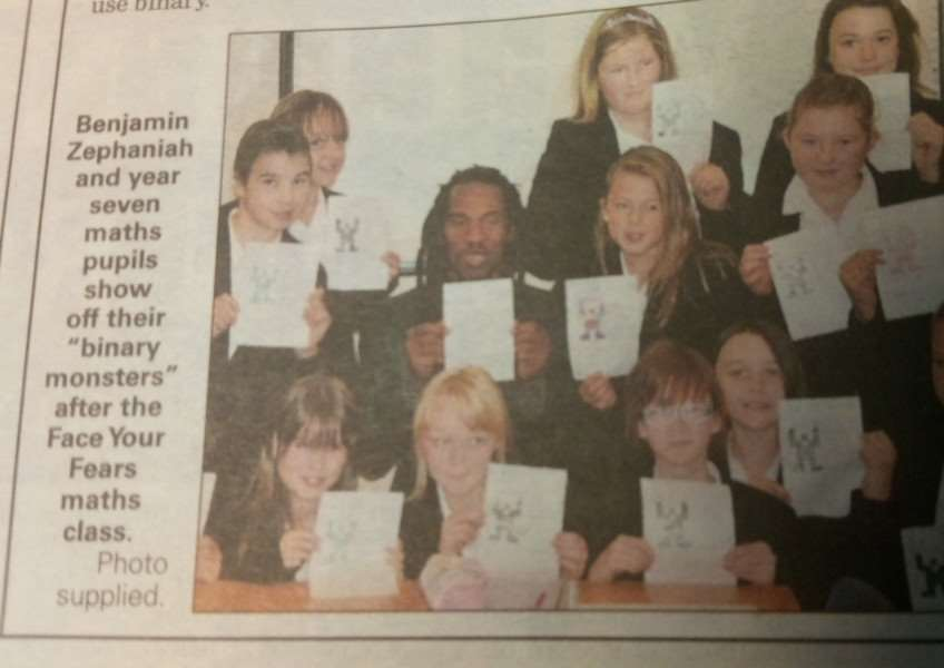 Gleed Girls' Technology College students in 2011, with Benjamin Zephaniah