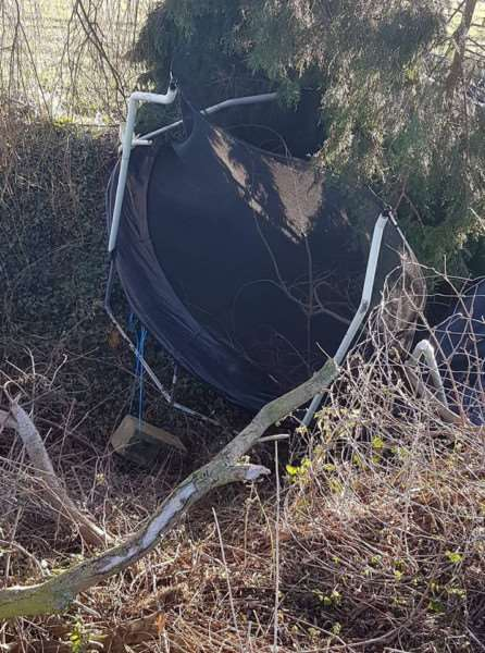 Trampoline damaged in Whaplode St Catherine.'Picture: Ashleigh Hardy
