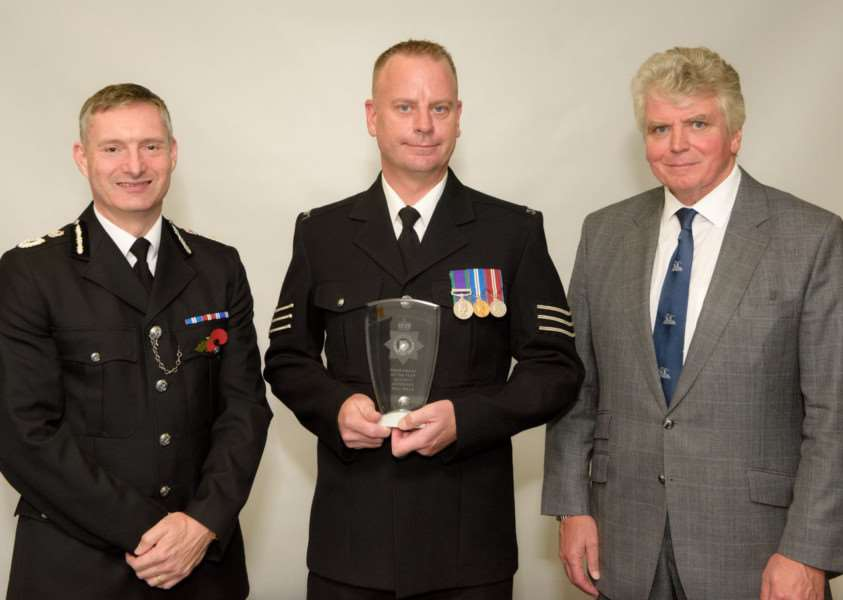 POLICE AWARDS: Sergeant Paul Wills (centre), with Chief Constable Bill Skelly and Deputy Lieutenant of Lincolnshire John Lockwood MBE. Photo supplied by Lincolnshire Police.