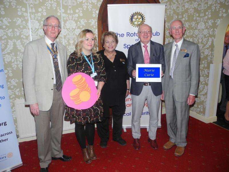 Pictured (from left) are Spalding and Welland Rotary president John Ralph, Joely Garner from the Sue Ryder Thorpe Hall Hospice, Rotarian Fay Barrett, John Moses from Marie Curie and Rotarian Peter Atkinson. (Photo supplied)